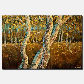 textured painting of birch trees wall decor