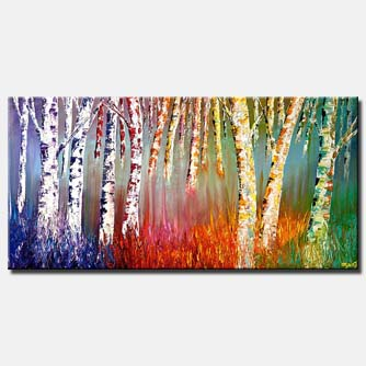 textured painting birch trees colorful