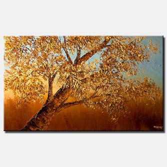 textured painting blooming tree horizontal