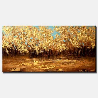 forest of golden trees horizontal large abstract