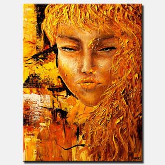 painting of woman face in rusty golden colors