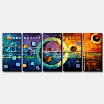 colorful geometric painting squares and circles