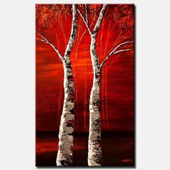 textured painting birch trees vertical red