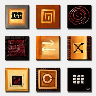 nine small panels of abstract signs multi panel
