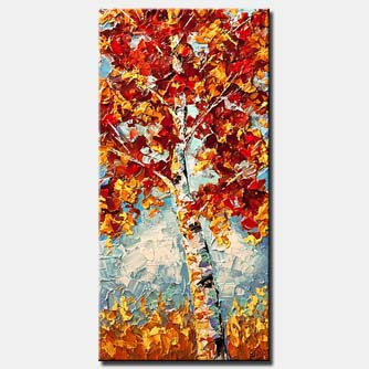 blooming birch tree in red and yellow vertical
