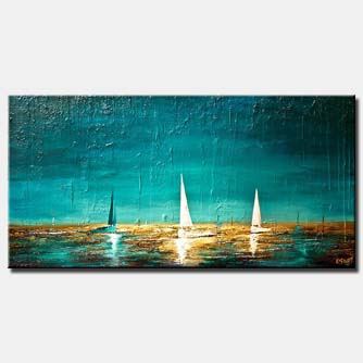 sail boats in the horizon horizontal blue sea