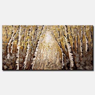 dense forest of birch trees horizontal abstract