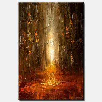 abstract painting of city street in rusty red