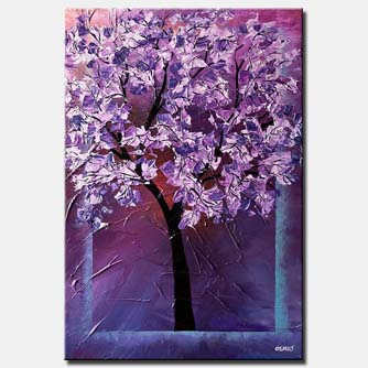 blooming cherry tree in lavender colors
