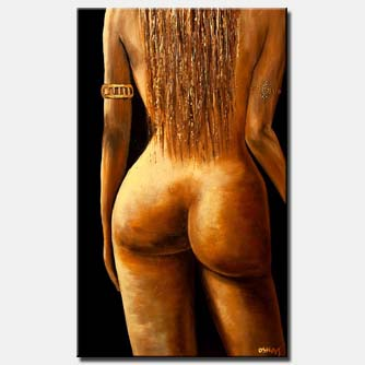 painting of long-haired naked woman from the back