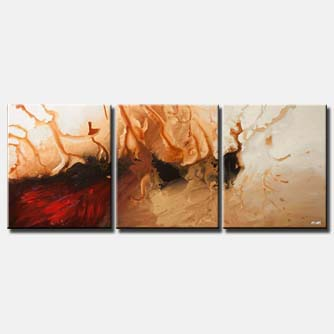 red abstract triptych for wall decor