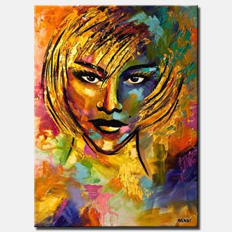 colorful painting of blond woman face with russian look