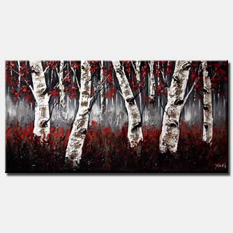 birch trees with red leaves