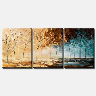 blooming trees triptych landscape painting