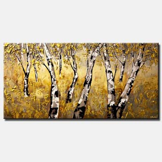 forest painting of birch trees