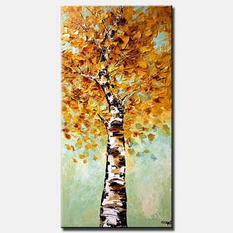 painting of vertical birch tree blooming