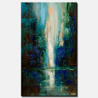vertical painting of cityscape at dawn