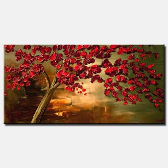 red flowering tree painting