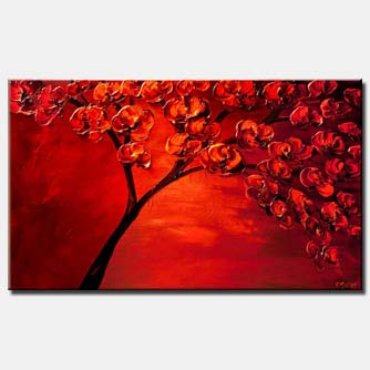 textured painting of blooming red tree