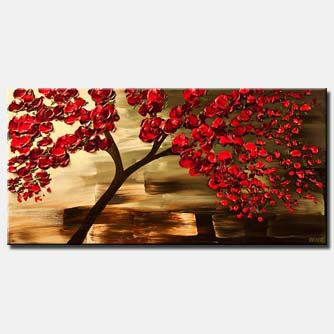 decorative red tree painting