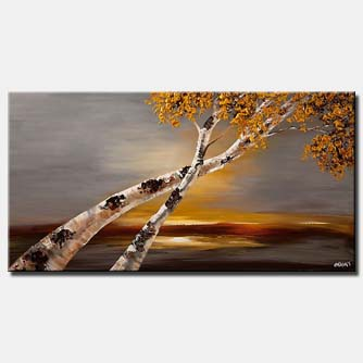 Birch tree abstract landscape textured painting