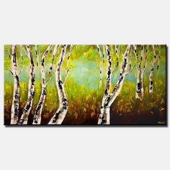 birch trees forest landscape palette knife
