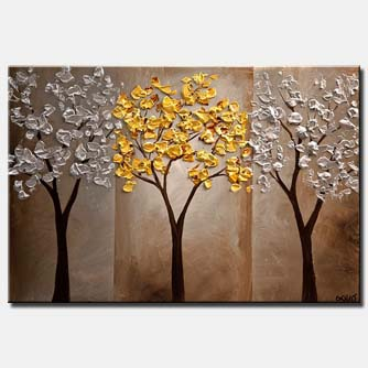 gold silver tree painting textured