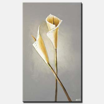 abstract lily flowers textured painting