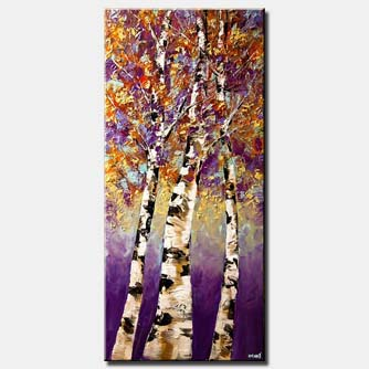 blooming birch trees modern palette knife