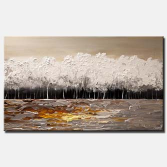 white blooming trees painting modern palette knife