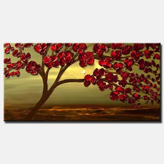 contemporary abstract blooming tree painting