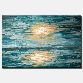abstract seascape painting texture modern palette knife