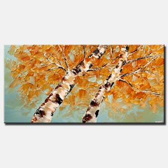 contemporary abstract blooming birch tree painting palette knife