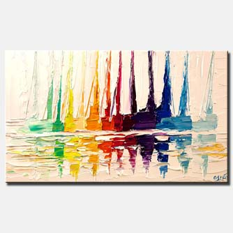 white modern sail boats abstract heavy impasto palette knife