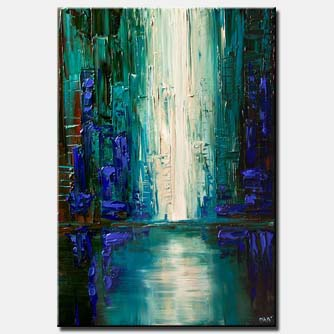 teal blue city painting abstract modern palette knife