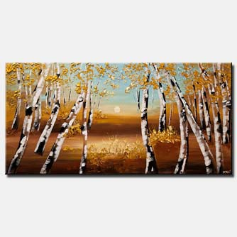 blooming forest birch trees landscape modern palette knife