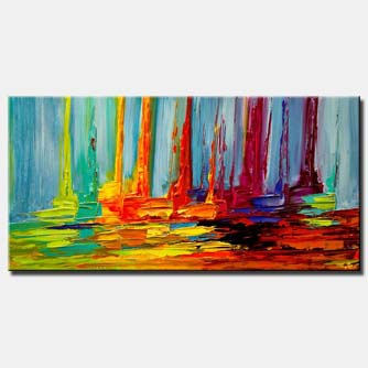colorful abstract sail boats in sea modern palette knife painting