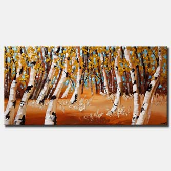 birch trees blooming trees landscape painting heavy impasto