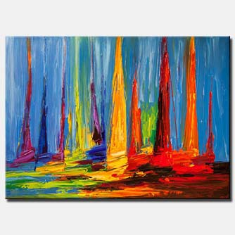 sailboats painting modern sea painting palette knife