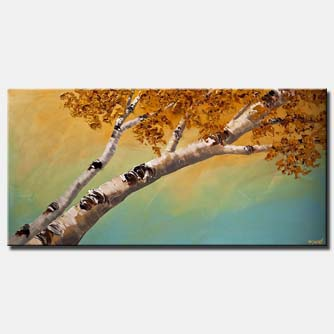 silver birch trees blooming abstract landscape textured