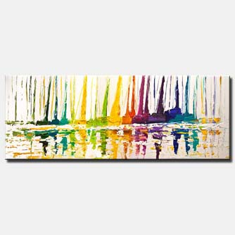abstract sailboats painting modern palette knife