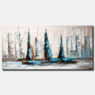 abstract sailboats city painting on white background palette knife