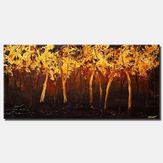 gold blooming trees textured landscape painting