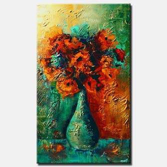 canvas print of vase with red flowers