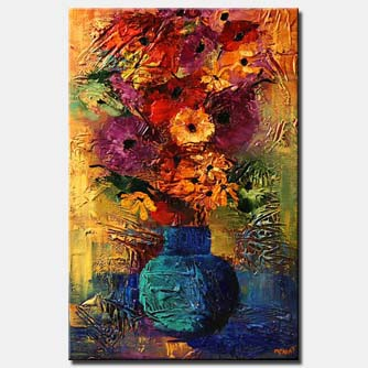 canvas print of colorful textured painting vase with flowers