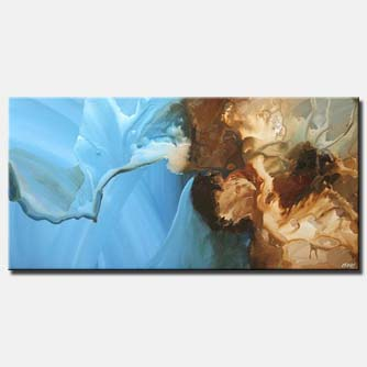 canvas print of horizontal blue abstract