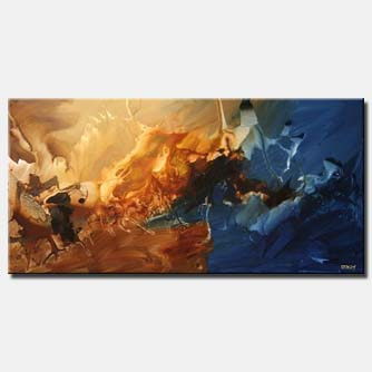 canvas print of modern horizontal blue painting