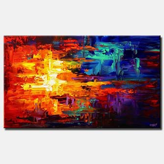 canvas print of bold colorful red blue and yellow abstract
