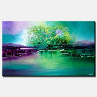 canvas print of landscape of group of green trees near lake