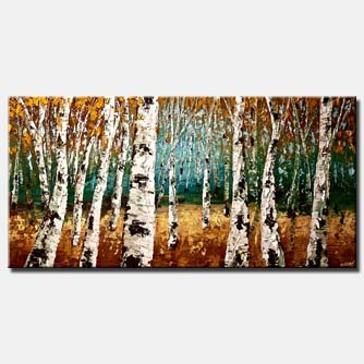 textured forest of birch trees